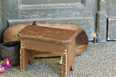 Wooden Stool Antique Kitchen Stool Primitive Rustic Stool Brown Milking Stool