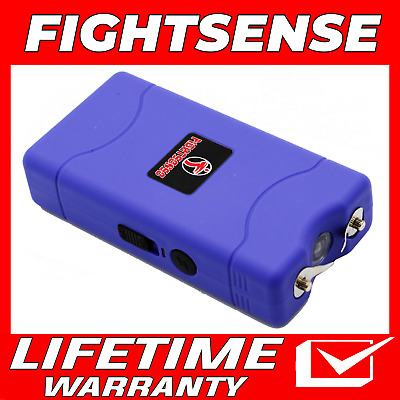 Mini Rechargeable Stun Gun 10 Mil Volts With Led Light Extremely Powerful Purple