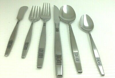 Discontinued Madeira Mid-Century Modern Stainless Japan 9 Piece Place Setting