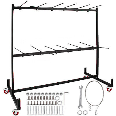 Two-Tier Folding Chair Rack 50 Chairs Capacity Folding Chair Cart Storage Rack