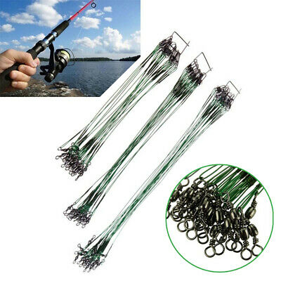 10pcs 50CM Fishing Trace Lures Leader Stainless Steel Wire Fishing Line 150LB #B