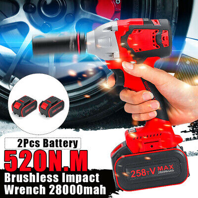 Cordless Impact Wrench Brushless Rattle 530Nm Torque 1/2'' W/ 2x Battery AU