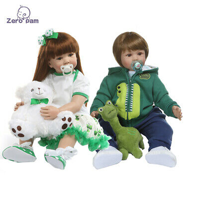 Realistic Looking Reborn Twins Boy+Girl 2pcs Toddler Doll 24in Reborn Baby Dolls