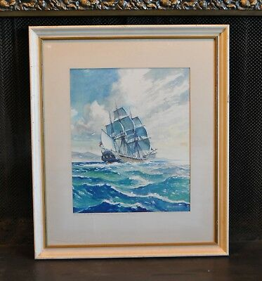 Watercolor Painting - Vancouver's Sloop Discovery in Strait - Parker McAllister