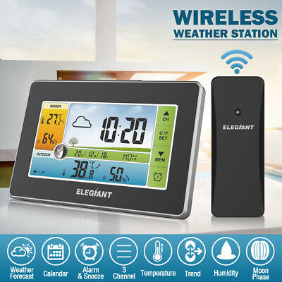 ELEGIANT Digital Wireless Color Weather Station Thermometer Humidity  /NEW