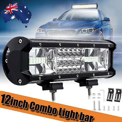 12INCH LED Work Light Bar Work Driving Triple Row Combo Beam Offroad 4WD Truck