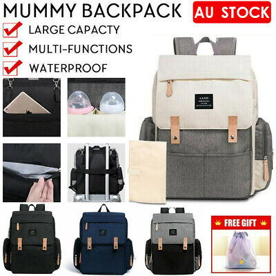 NEW GENUINE LAND Multifunctional Babys Diaper Backpack Changing Bag Nappy Mummy