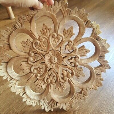 """12"""" Thai Carved Wooden Panel Ceiling Wall Decor Flower Wall Art Collectible DIY"""