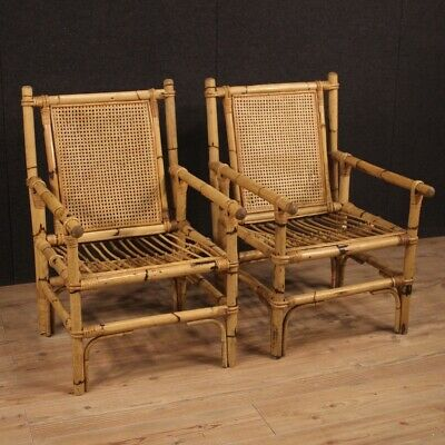 Pair of armchairs design chairs living room in bamboo wood modern vintage 900