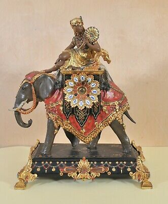 Antique French mantel clock, Elephant and a young Nubian, 19th century