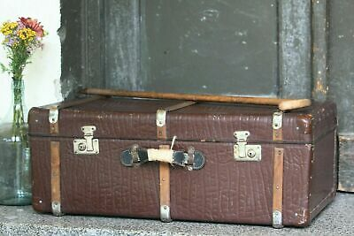 Vintage Old Fashioned Large Brown Travel Suitcase for Sale Cardboard Luggage