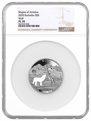 2020 Barbados Shapes America Cut-Out HR 1 oz PL Silver $5 Wolf NGC PL70 SKU60351