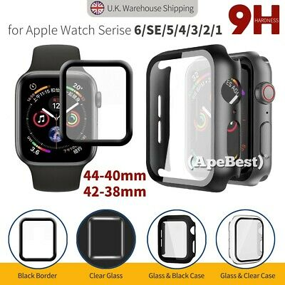 Black Tempered Glass Protector Screen Case Cover For Apple Watch 5 4 3 2 iWatch