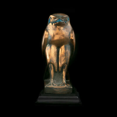 Statuette of the Ancient Egyptian god Horus - bird in the form of bronze falcon