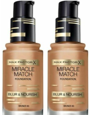 2 x Max Factor Miracle Match Foundation, Blur & Nourish 30ml / Bronze 80