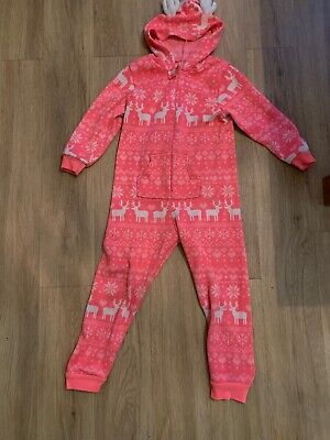 Primark Girls Onesey Pjs Pink Christmas Age 7 - 8 Years Old Nightwear Sleepsuit