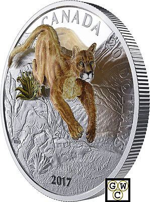 2017 Leaping Cougar-3D' Color with 3D Prf $20 Silver Coin 1oz .9999Fine(18152)NT