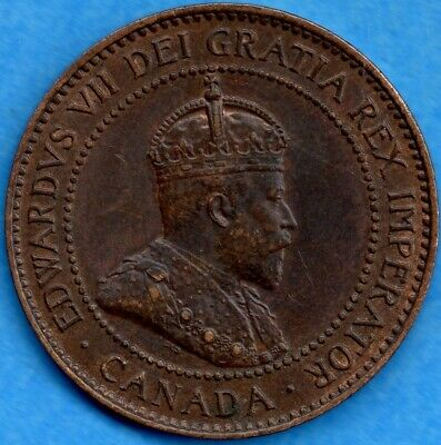 Canada 1907 H 1 Cent One Large Cent Coin - EF