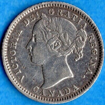 Canada 1882 H 10 Cents Ten Cent Silver Coin - Very Fine (cleaned, scratches)