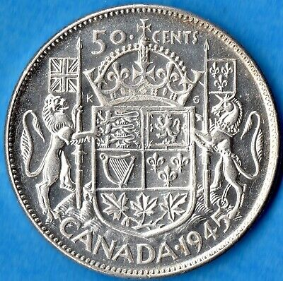 Canada 1945 50 Cents Fifty Cents Silver Coin - AU