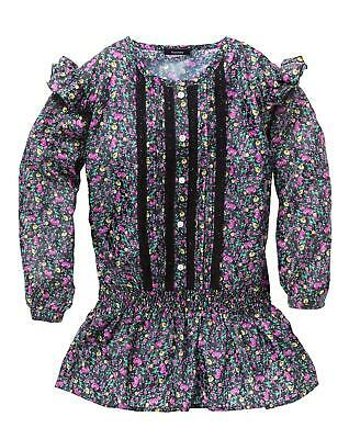 KD EDGE FLORAL LONGLINE BLOUSE Navy Blue Lace Trim Girls 9-10 Years - NEW
