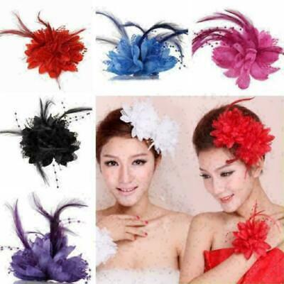 Handmade Women Feather Floral Hair Lace Fascinator Hat Headband Accessories Q5K9