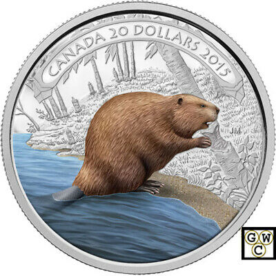 2015 'Beaver at Work' Colorized Proof $20 Silver Coin 1oz .9999 Fine (15287)