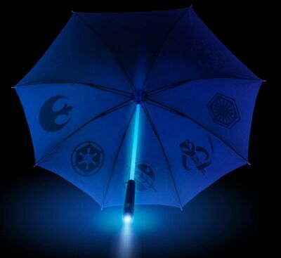 Official Star Wars Blue Jedi Light Up Lightsaber Umbrella new