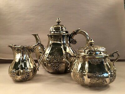 Antique German Sterling Silver 800 SET of Coffee Tea pot, Teapot sugar creamer