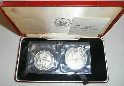 1974 Iceland 500 & 1000 Kronur Silver 2 Coin Proof Set GEM FDC Coins In Case