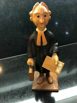 """Vintage Romer Handcarved 12"""" Tall Wood Lawyer Judge Figurine Made In Italy"""
