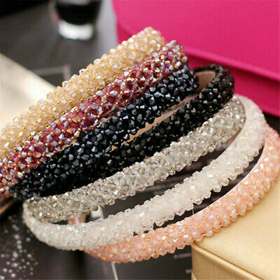 women pretty headband rhinestone crystal beads plastic hair alice band accessory