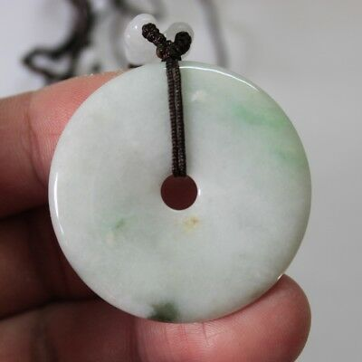 Certified Natural Type A Jadeite JADE Untreated Light Green Circle Donut Pendant