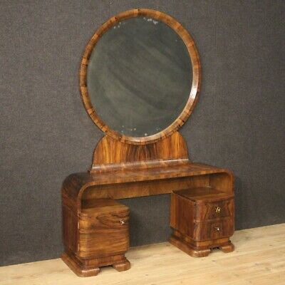 Dressing table furniture in walnut wood antique style Art Deco mirror commode
