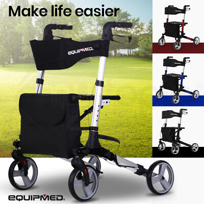 EQUIPMED Rollator Walking Frame Walker Foldable Mobility Aid Aluminium Seat Aged