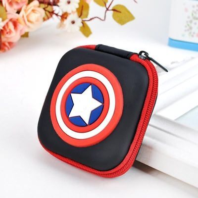 NEW Captain American Kids Boys Rubber Coin Purse Wallet Headset Bag Gift