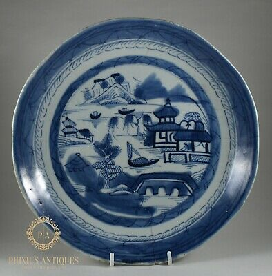 Large Antique Chinese Export Canton Porcelain Blue & White Plate / Dish