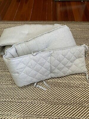 Pottery Barn Kids BELGIAN FLAX LINEN CRIB BUMPER Color Grey Nursery Baby