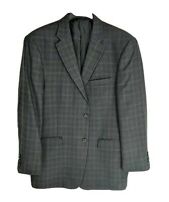 Jos A Bank Mens 42R Silk Wool Blend Green Black Plaid 2 Button Blazer Sport Coat