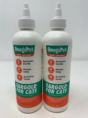 OmegaPet EarGold for Cats Pet Ear Cleaner 8oz bottle Pack of 2