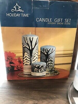 Candle Gift Set Holiday Snow Scene