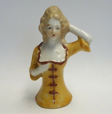 Vintage Pin Cushion Half Doll Porcelain Lady Figurine - Made In Japan