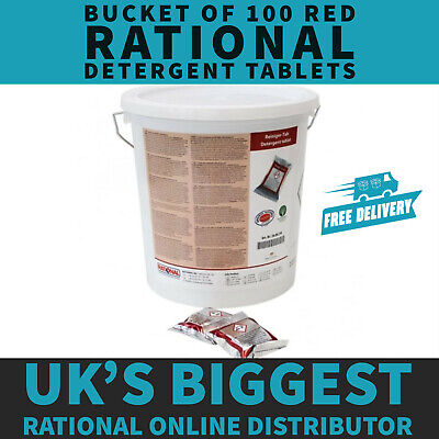 Red Rational Cleaning Detergent Tablets - Bucket of 100 Tablets