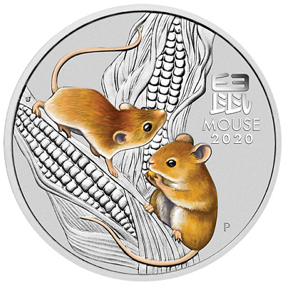 Lunar Year Of The Mouse 2020 5 Oz Pure Silver Color Coin Capsule Perth Australia