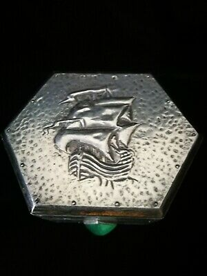 Gorgeous Original Arts And Crafts , Pewter On Wood Box