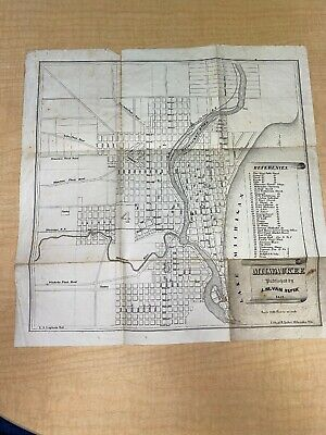 Original 1854 Map of Milwaukee Wisconsin Published By J.M.Slyck 166 Years Old