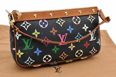 Auth Louis Vuitton Monogram Multicolor Pochette Accessoires Black Pouch LV 87830