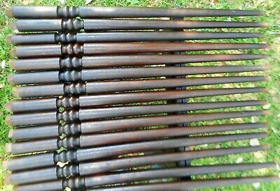 28 Antique Walnut Staircase Balusters & 14' Handrail 1870s Victorian Italianate