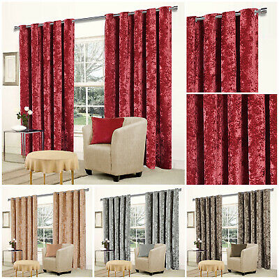 Heavy Blackout Crushed Velvet Eyelet Ring Top Ready Made Lined Pair Curtains