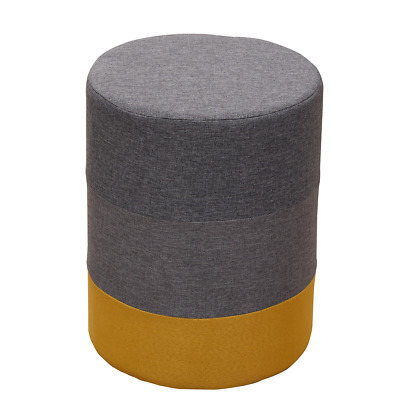 Mobili Rebecca Footstool Upholstered Wood Fabric Yellow Gray Modern 45x35x35
